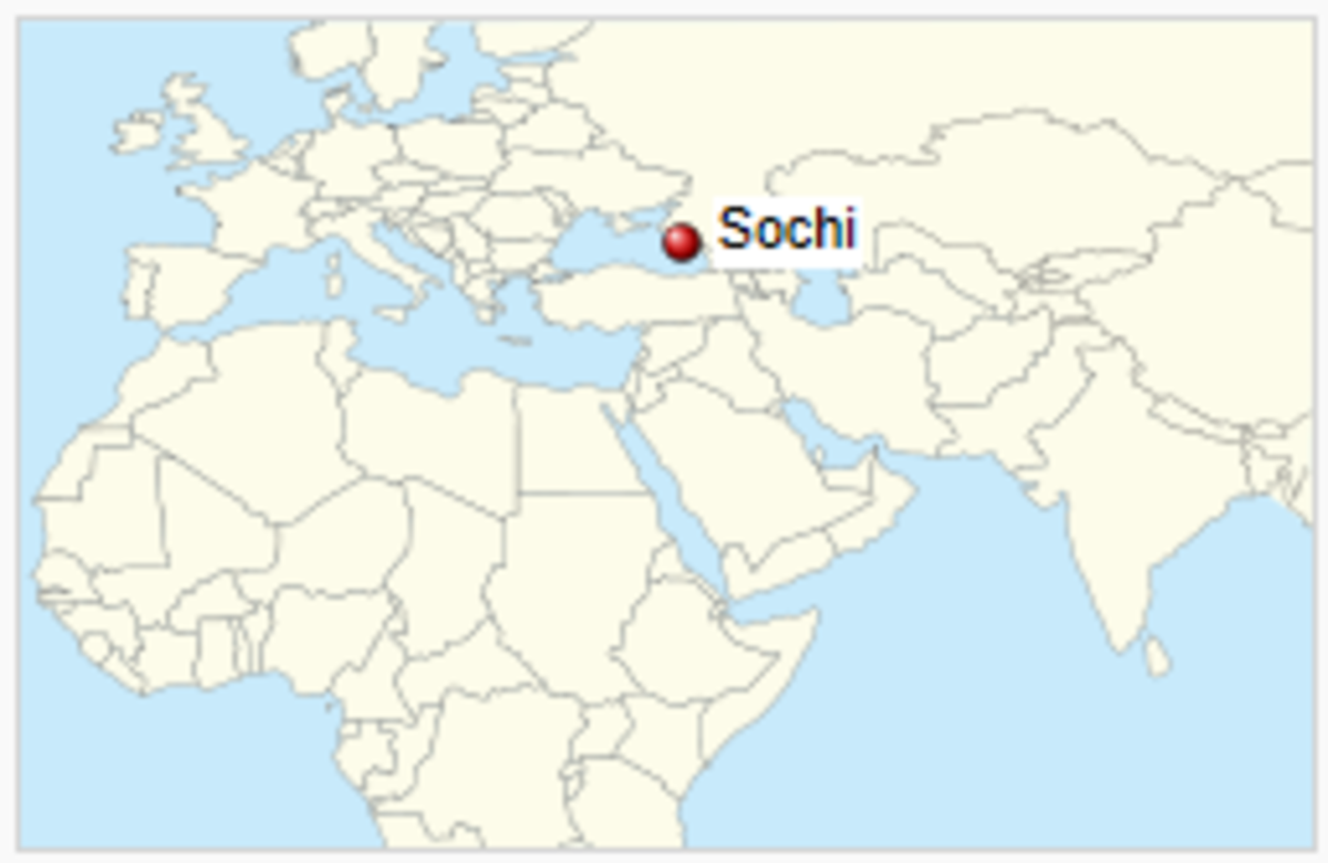 The location of Sochi in Russia.
