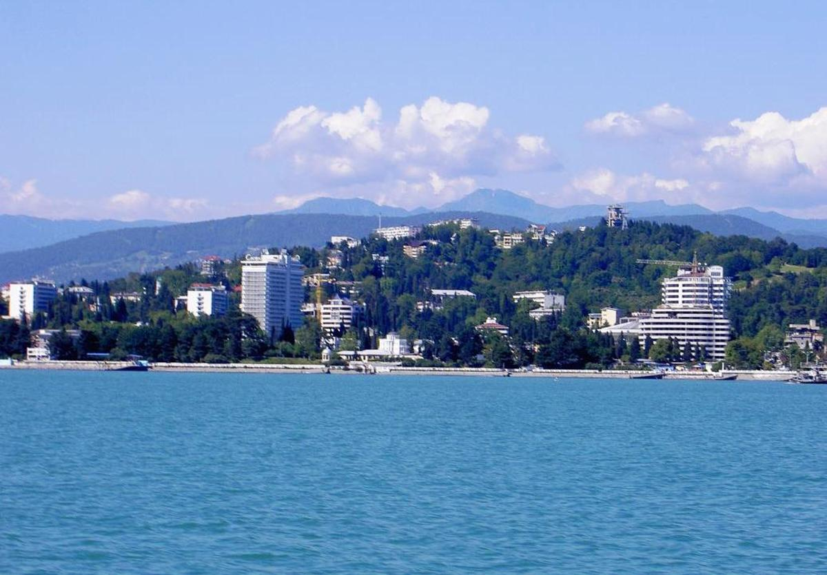 This is the city of Sochi, seen from the Black Sea.