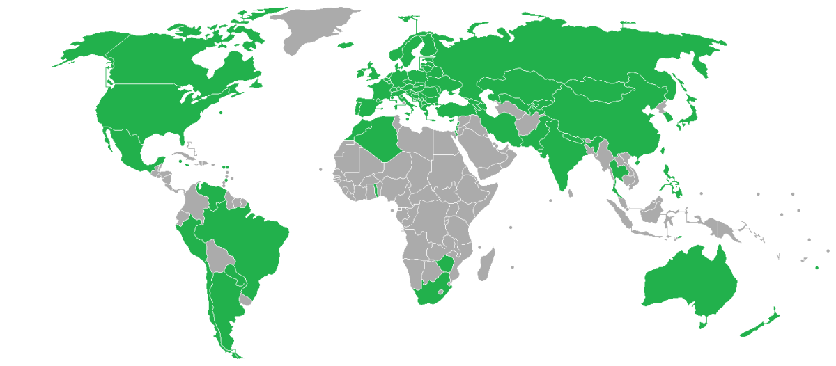 This map shows the participating countries who have entered at least one athlete.