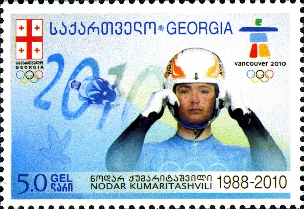 A stamp which was created to honor Georgia native Nodar Kumartashvili
