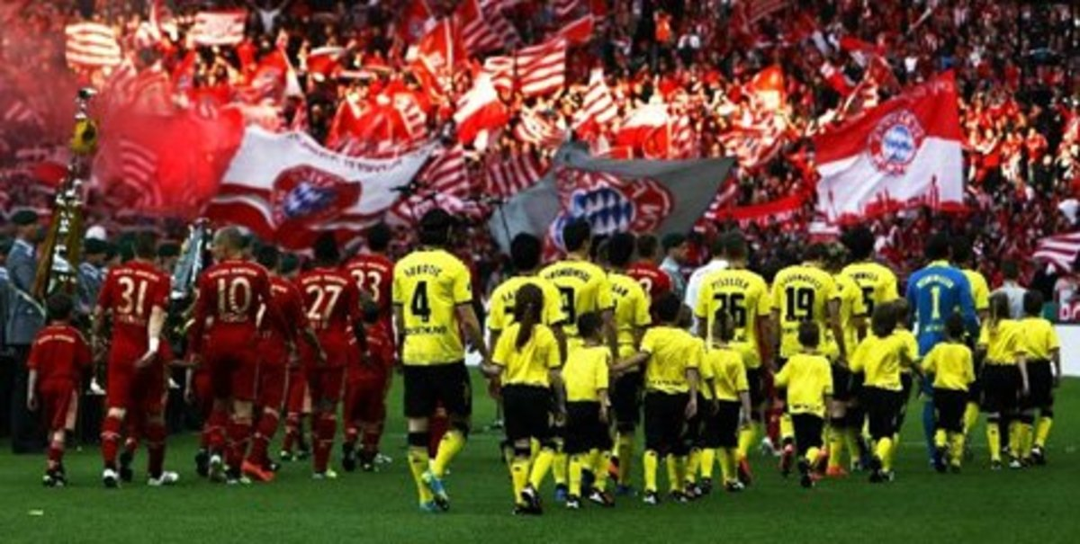 Der Klassiker is played between Bayern Munich and Borussia Dortmund.