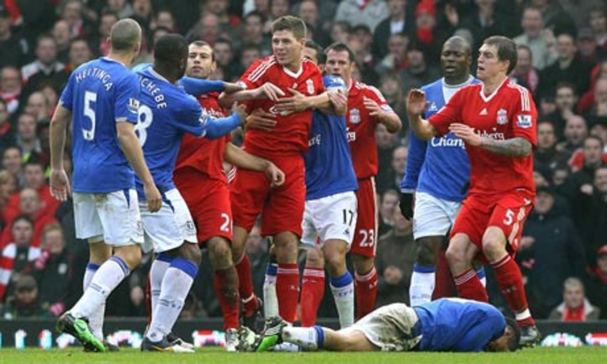 Liverpool plays Everton in the Merseyside Derby.