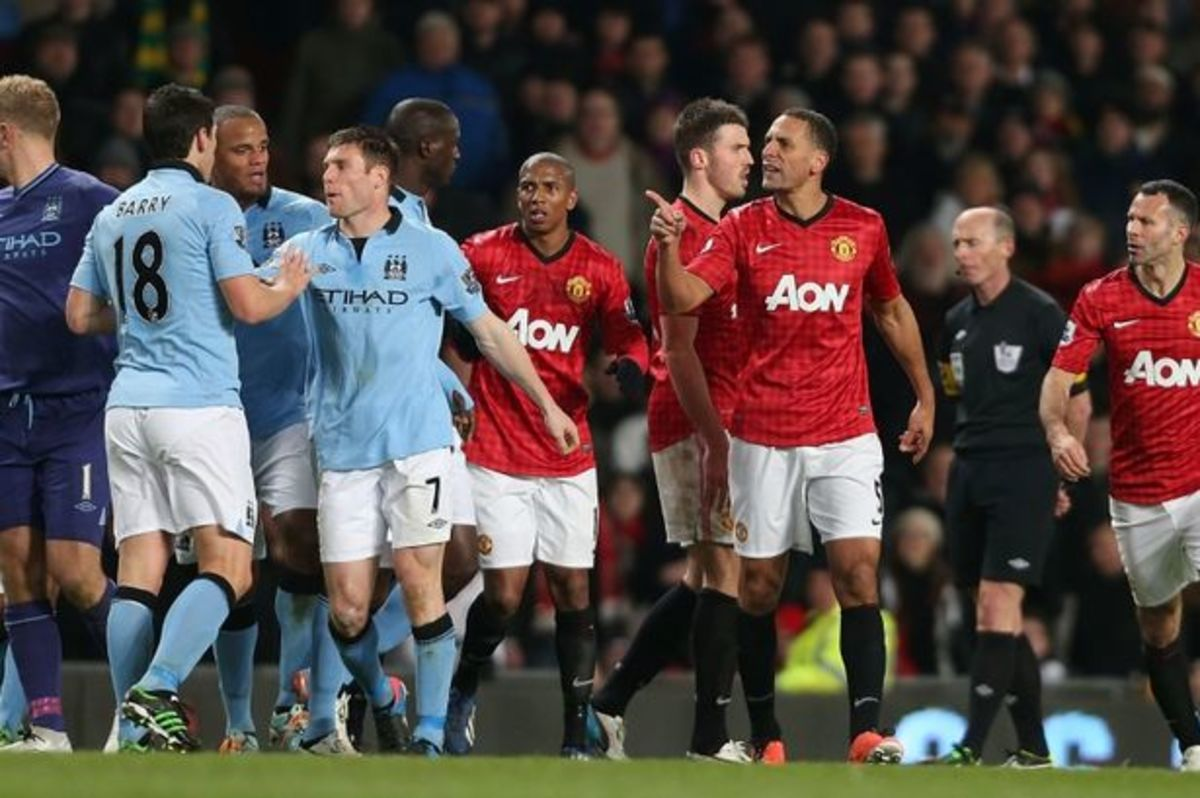 Manchester United and Manchester City face off in the Manchester derby.