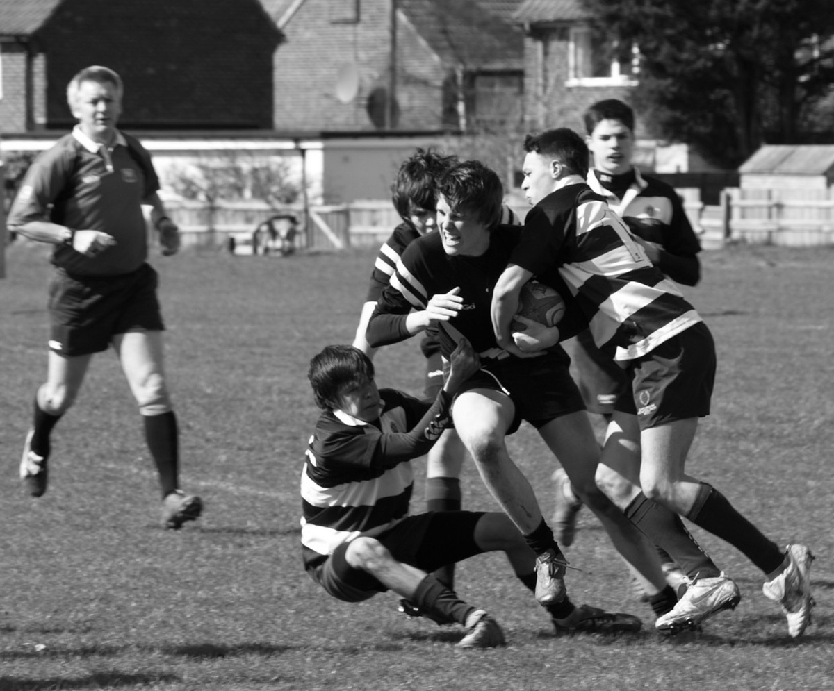 Rugby is an example of a sport where assertiveness is a key behaviour.