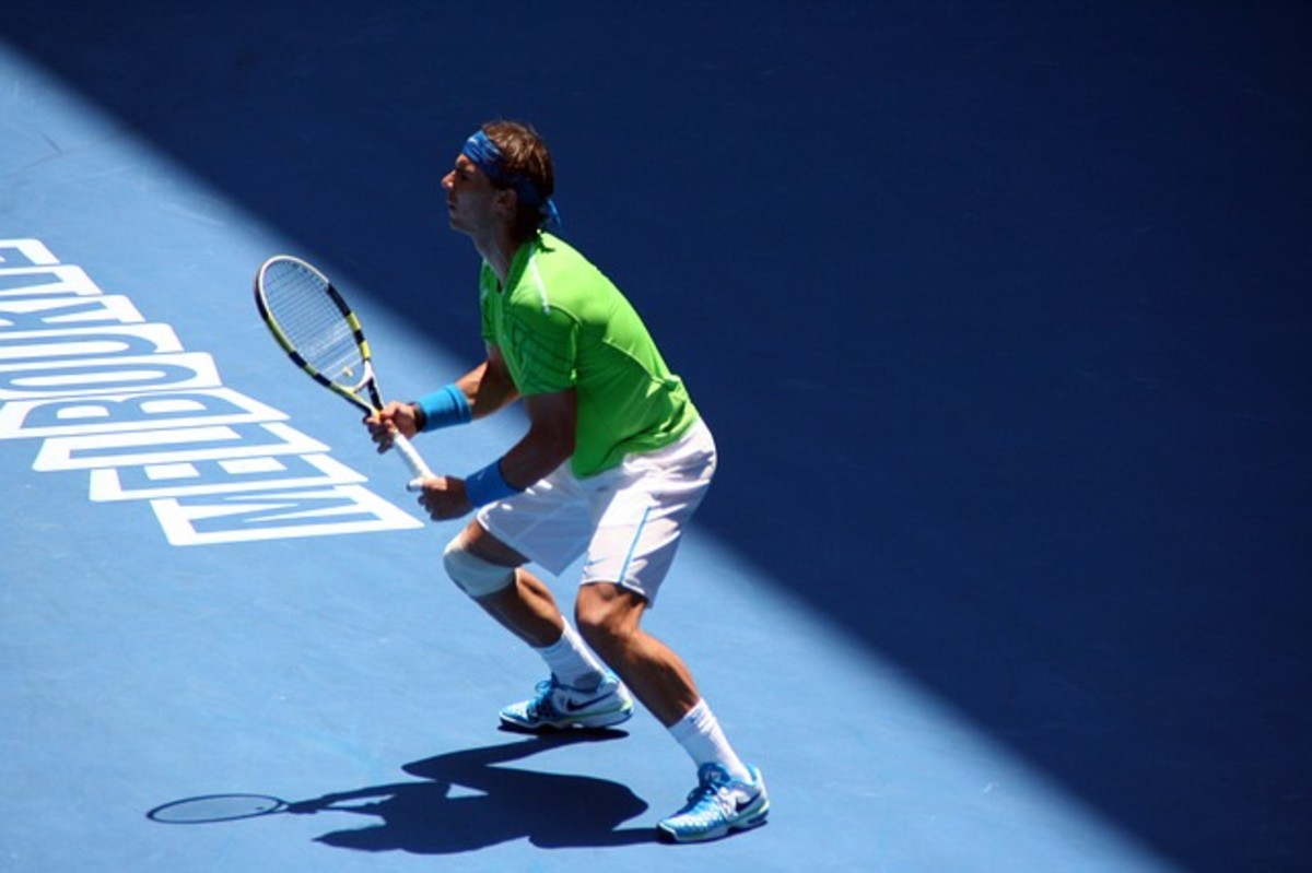 Rafael Nadal playing in Melbourne at the Australian Open in 2012.  The Spaniard is widely regarded as the finest clay court player of all time.
