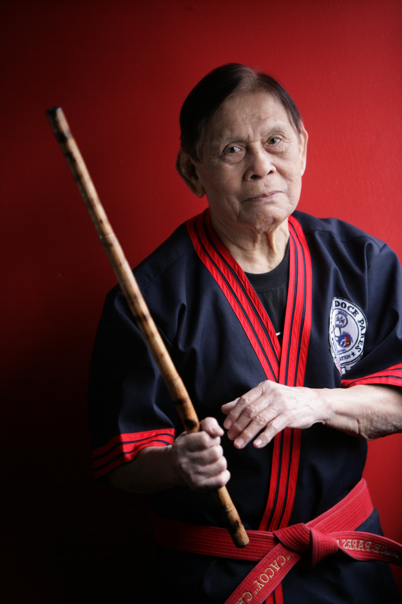 Grandmaster Cacoy Canete, practitioner of Doce Pares Eskrima and Eskrido, a system that incorporates the use of grappling, striking and multiple weapons.
