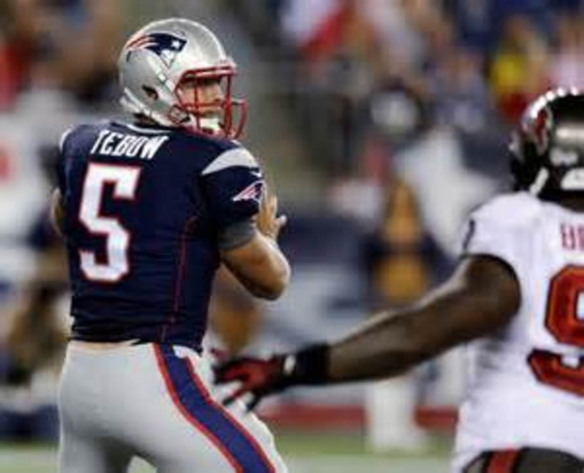 Tebow during a preseason game in New England.