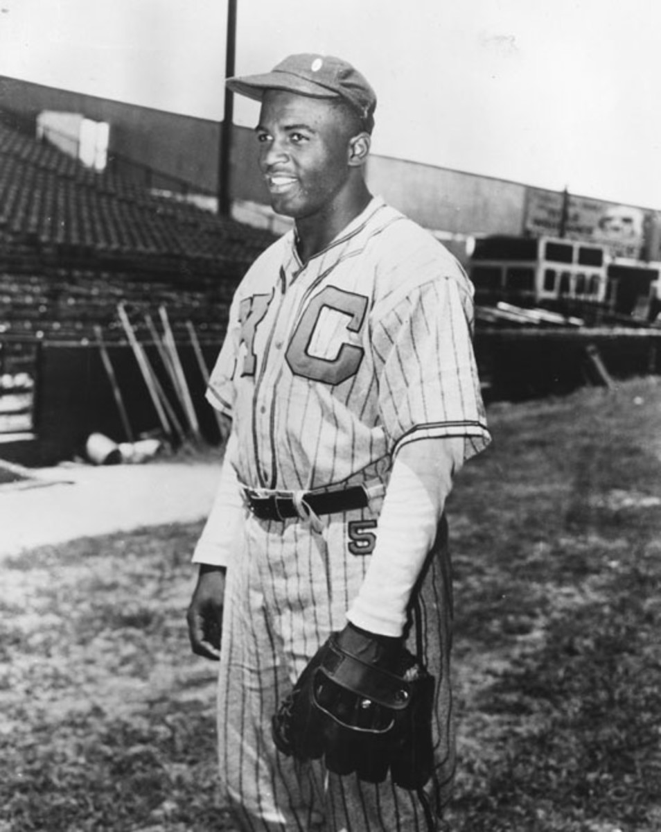 Jackie Robinson is seen during his time with the Kansas City Monarchs in the Negro Leagues.