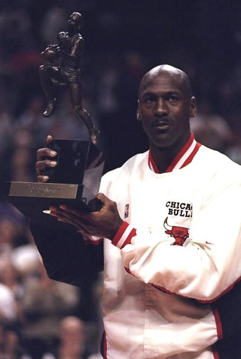Jordan winning one of his 5 Most Valuable Player awards.