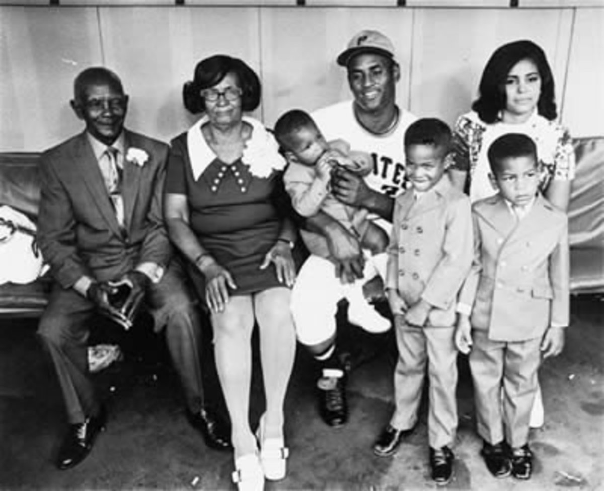 Roberto's parents, wife, and three sons attend Roberto Clemente Day at Three Rivers Stadium in Pittsburgh.