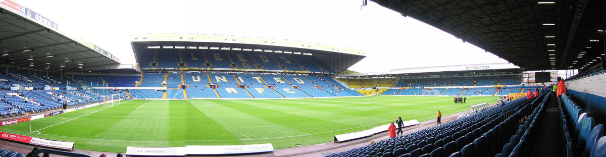 A panorama of Elland Road, Leeds United's home ground for many decades.  Legendary Manchester United manager, Alex Ferguson has described Elland Road as being one of the most intimidating atmospheres in European Football.