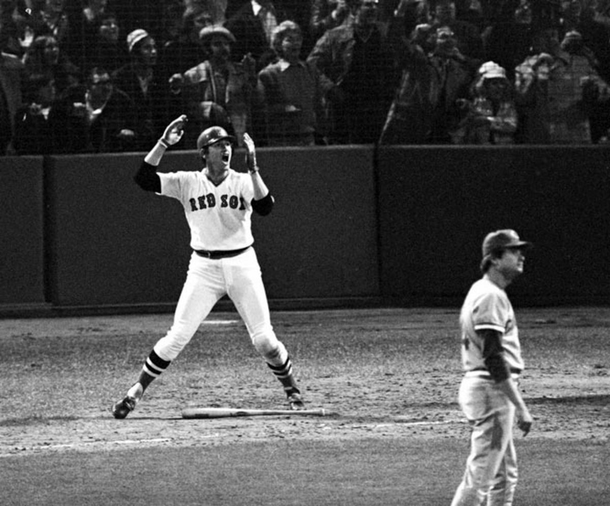 Carlton Fisk's iconic urging of his home run ball to win Game 6 of the 1975 World Series. But the Reds bounced back to win the next night.