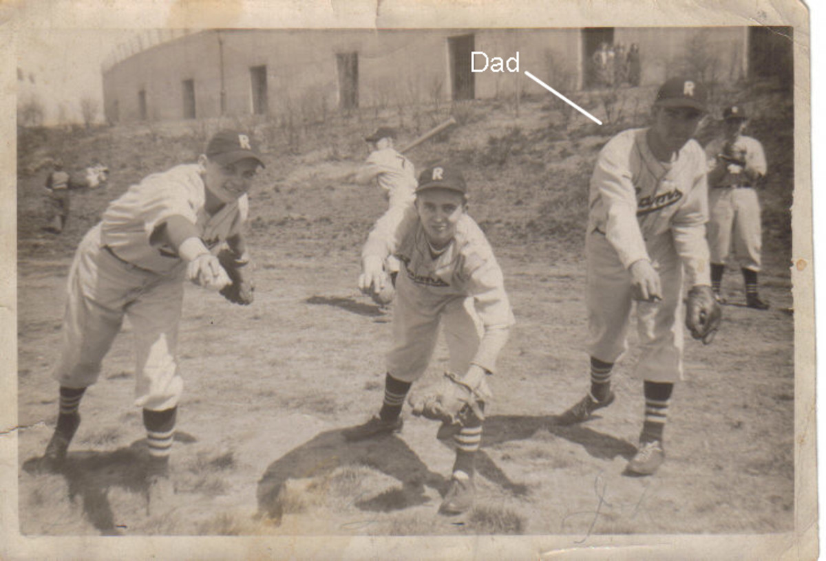 My father, John J. Kelly, as a member of the Bronx Rams, a semi-pro team, 1939. The war interrupted his quest for a baseball career. The kid in the middle was killed in Germany on May 7, 1945.