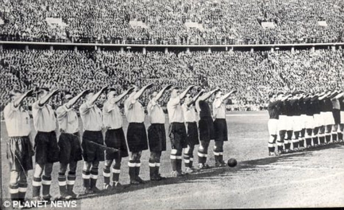 One of the more iconic and controversial images of the Germany-England rivalry came in 1938 as England performed the Nazi salute in Berlin's Olmpiastadion.