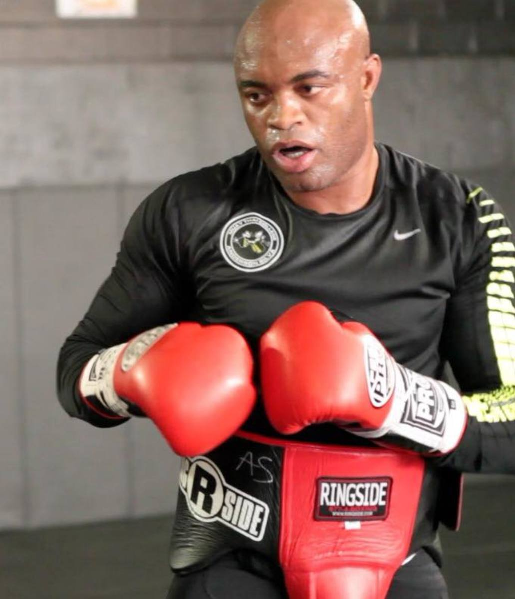 Anderson Silva's record includes 34 wins with 20 knockouts, and only six losses.