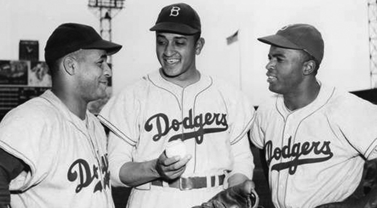Catcher Roy Campanella, Pitcher Don Newcombe and Jackie Robinson