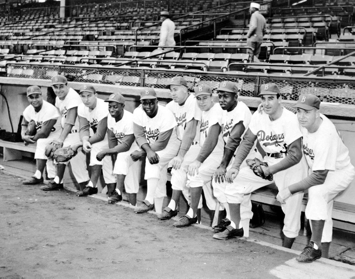 Furillo, second from left. The 1956 Brooklyn Dodgers with manager Walter Alston. Five Hall of Famers and the rest should be. Alston remained manager until 1976.