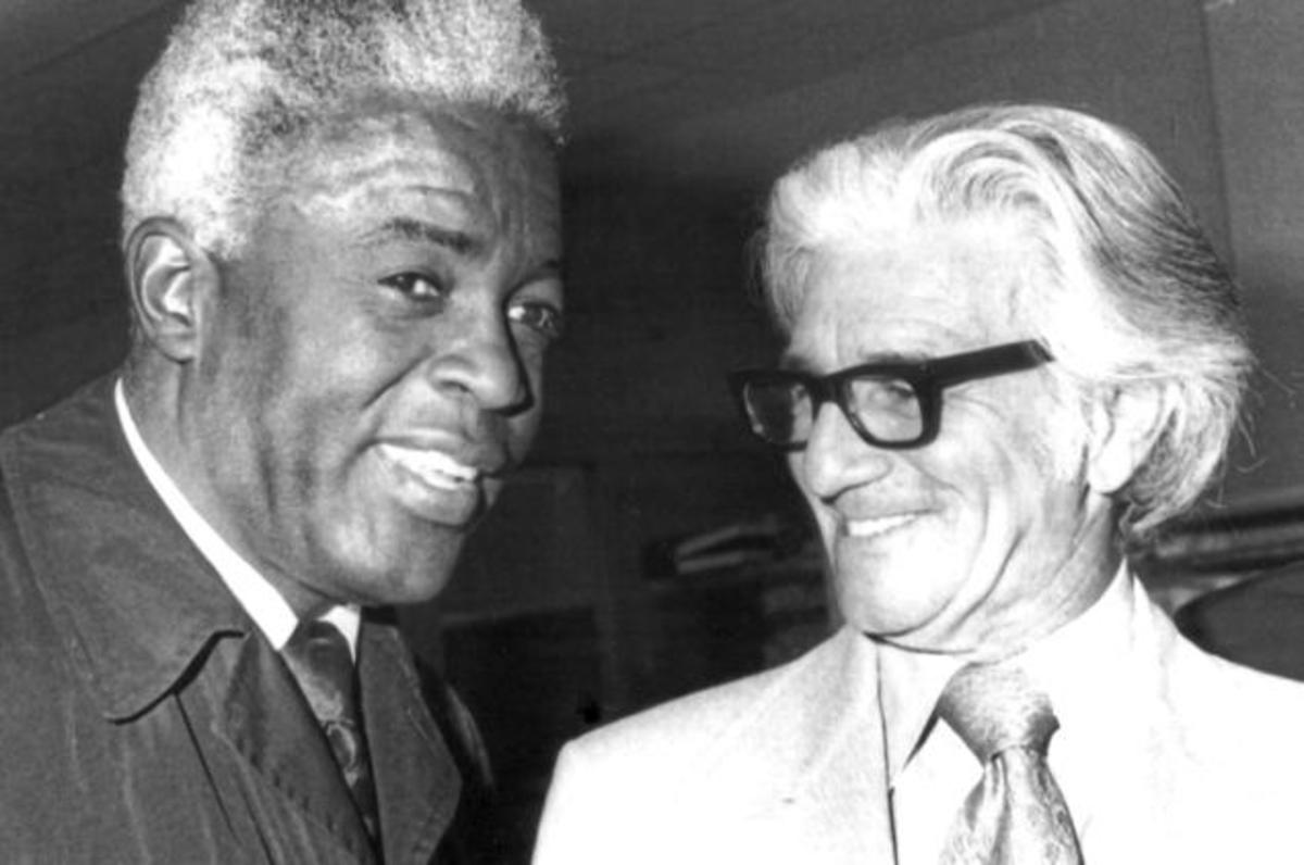 A very ill Jackie Robinson with Dick Young in the early '70s.