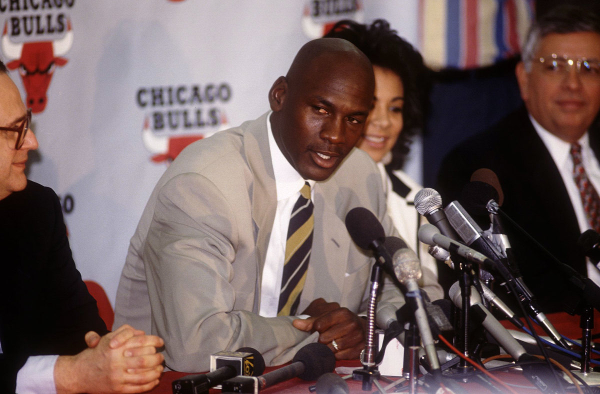 Michael Jordan retires shortly after winning his third championship in a row.