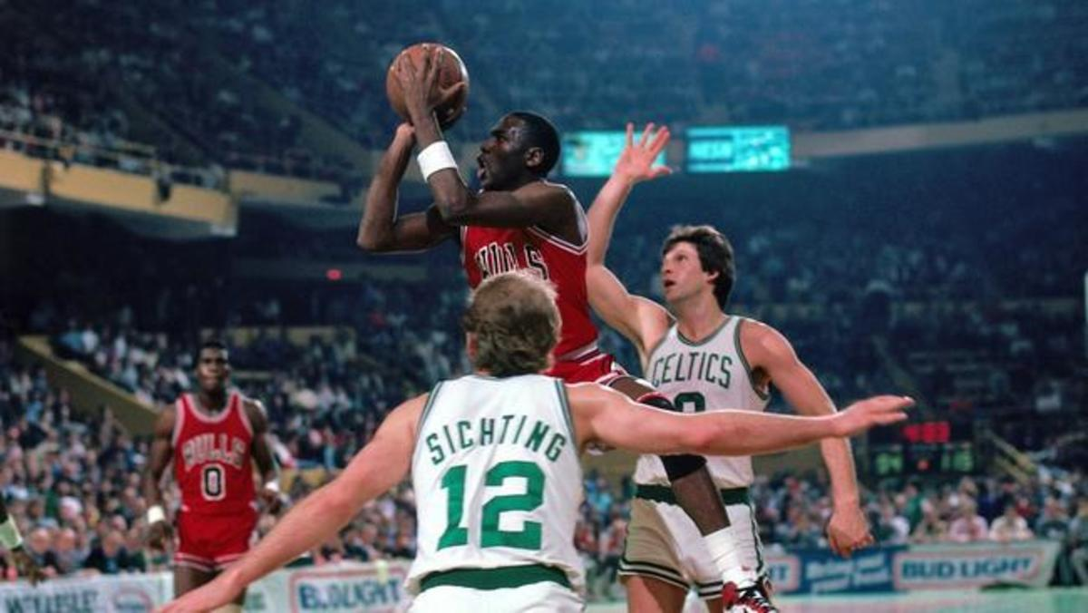 Despite facing five future Hall of Famers, Michael Jordan valiantly scored 63 points against the Boston Celtics.
