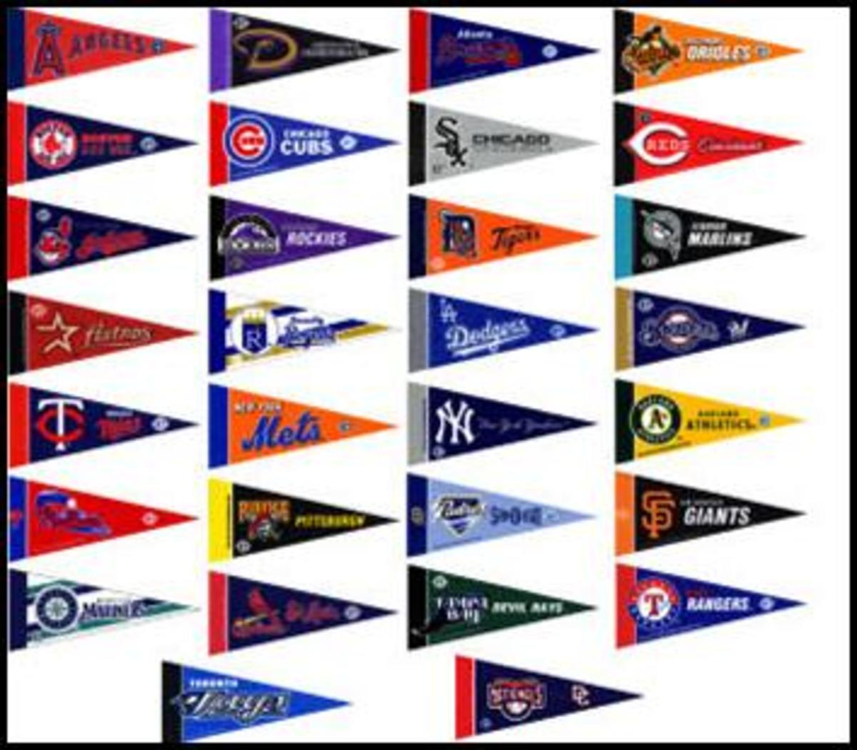 Pennants with team logos.