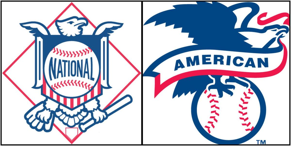 Logos for the National League (left) and the American League (right).