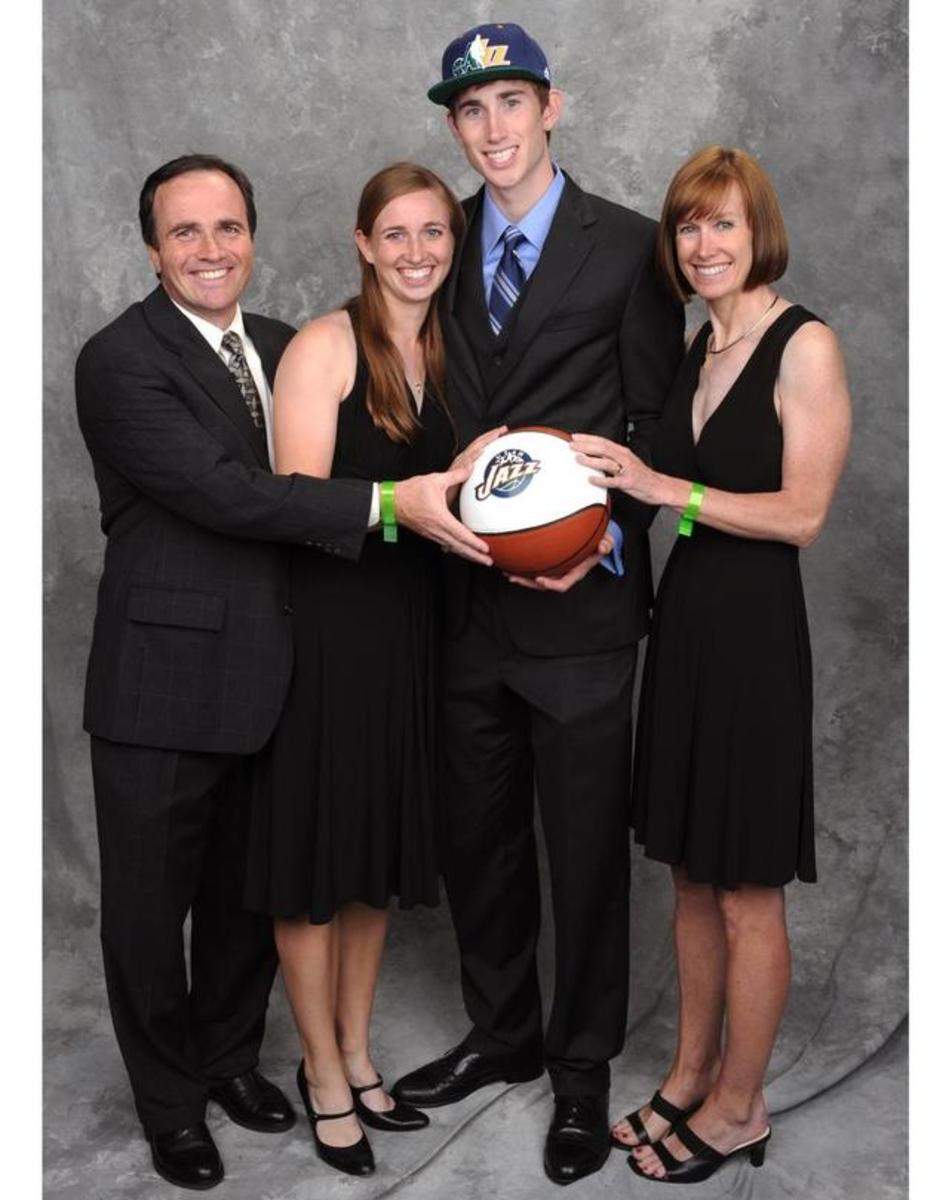 Gordon Hayward with his dad, mum, and twin sister.
