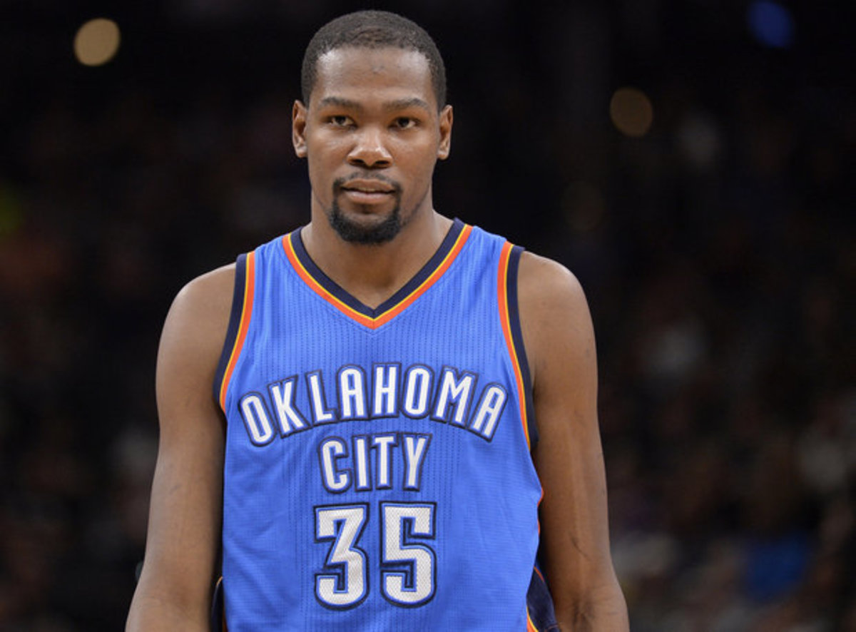 Durant in his Oklahoma City jersey.