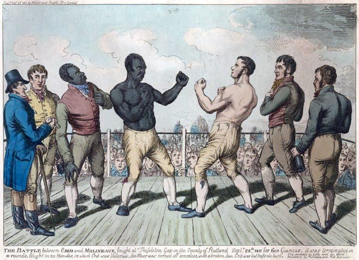 Tom Molineaux, a freed slave, fought in England. He retired in 1815, turned to drink, and died in poverty aged 34.
