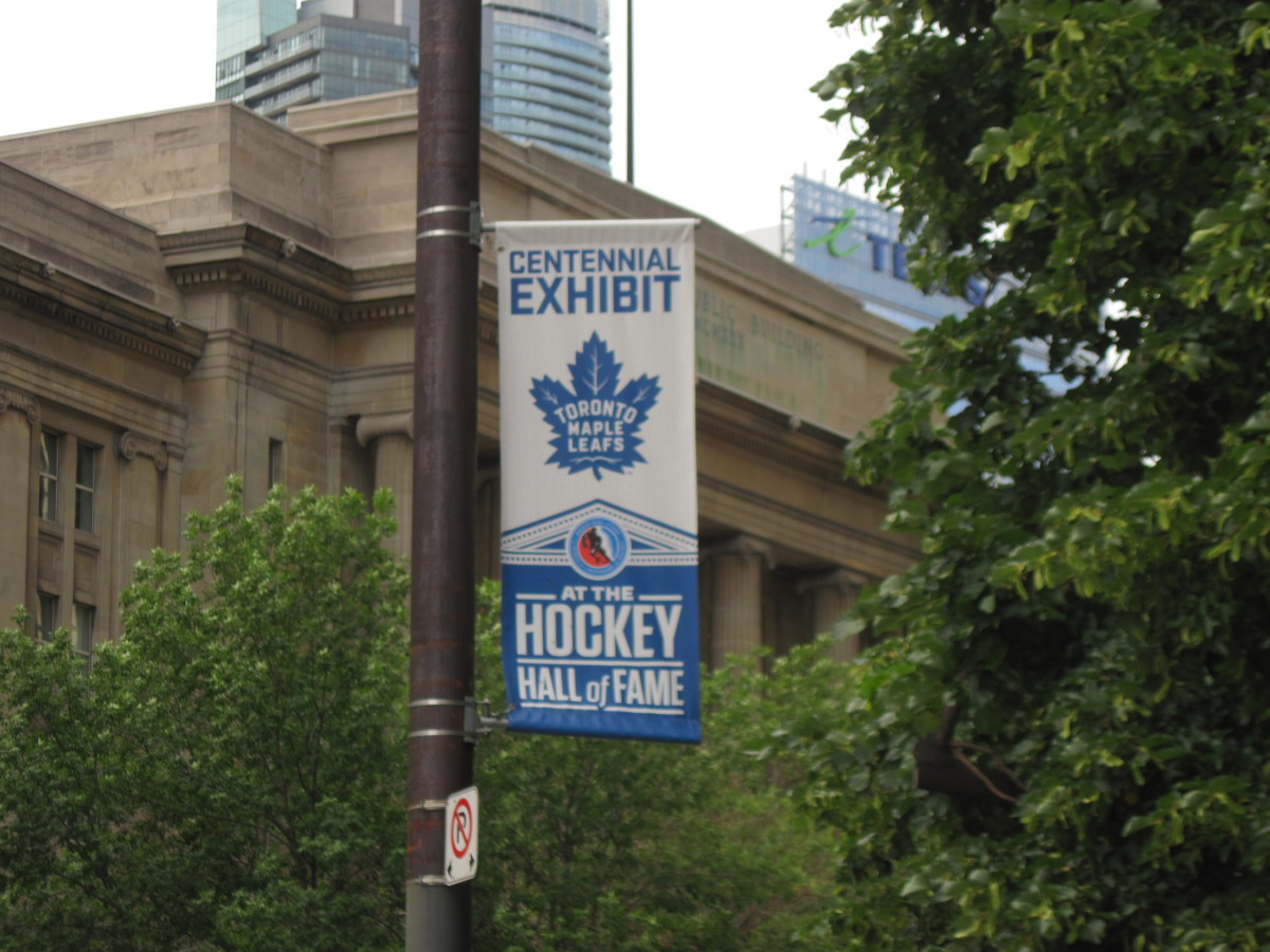 Flag outside Hockey Hall of Fame