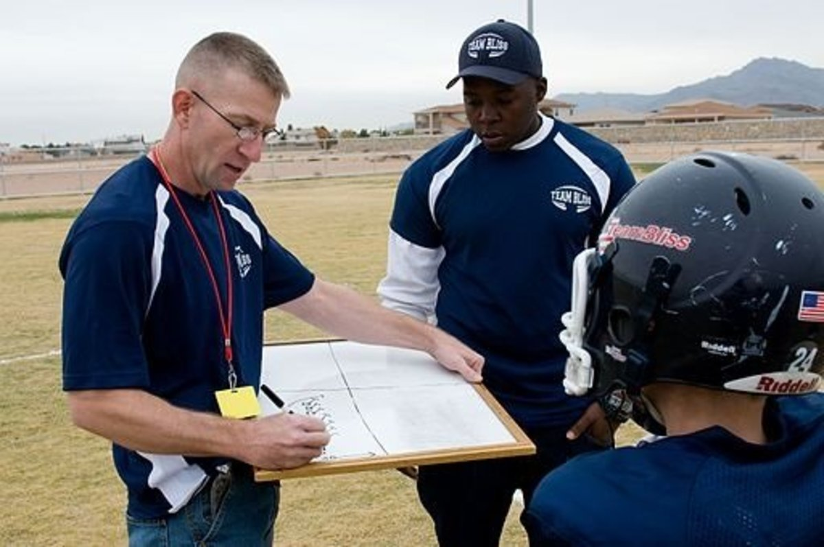 El Paso Texas Team Bliss Head Coach Kenneth Gipe, (left) writes up a new play prior to a game.  Photo by Staff Sgt. Jes Smith (https://www.dvidshub.net/image/793660) [Public domain], via Wikimedia Commons