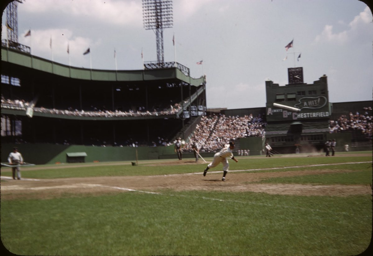 A rare color shot at field level.