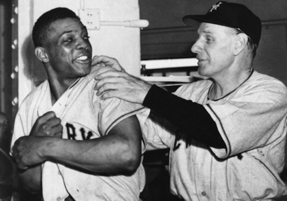 Mays with manager Leo Durocher