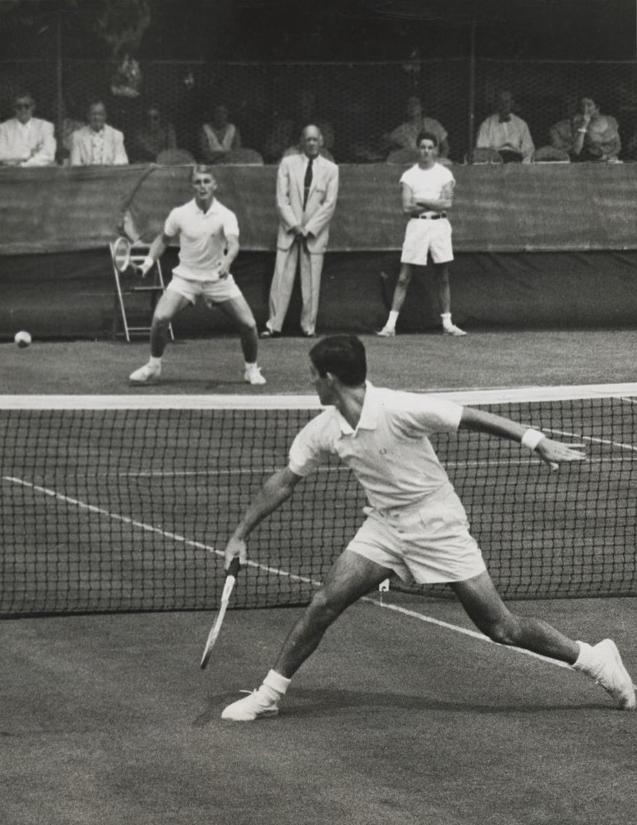 Ken Rosewall, seen here at the 1954 Eastern Grass Court Championships, holds the record being both the youngest and oldest winner of the Australian Open.
