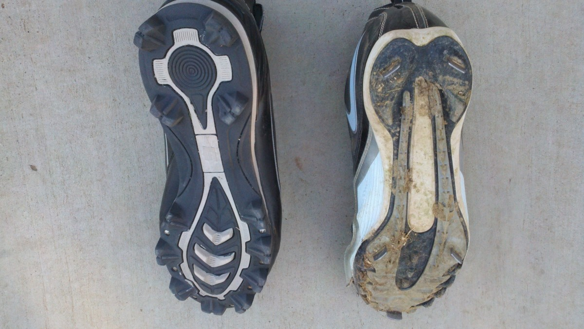 This photo shows the underside of a plastic/rubber cleat on the left  and a metal cleat on the right.