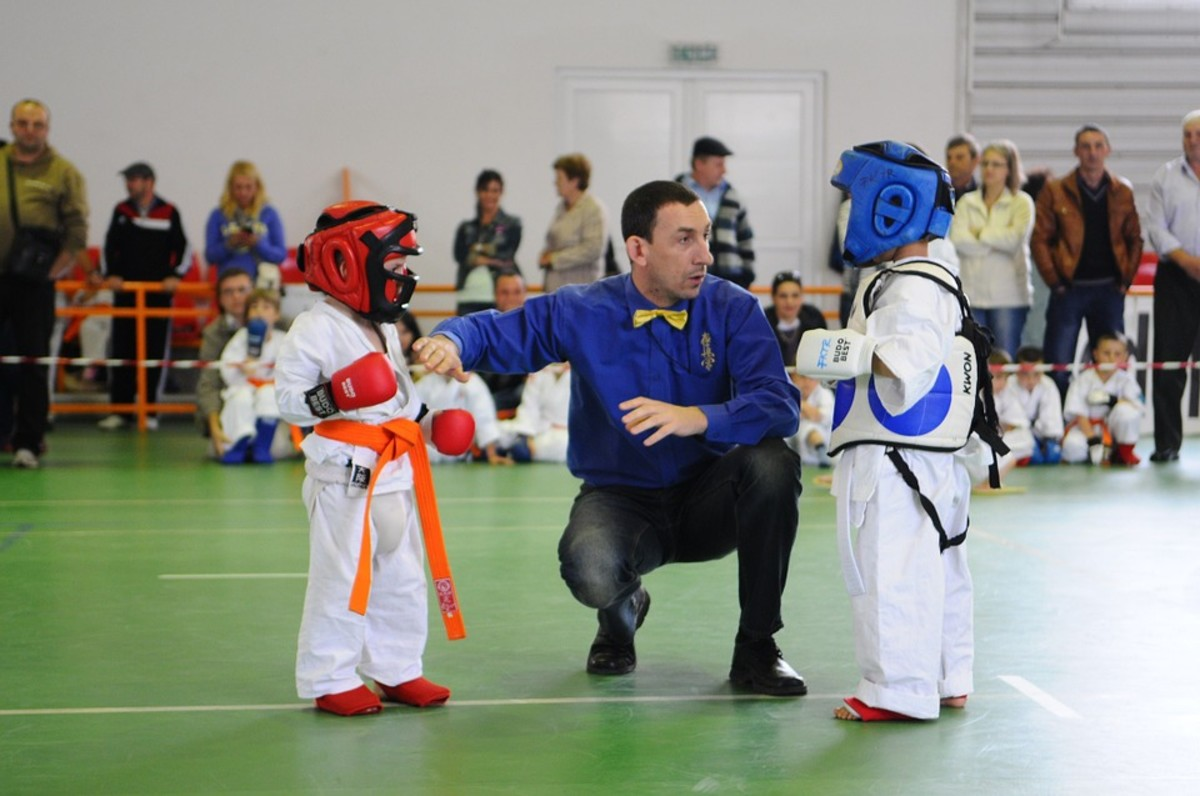 Children learn respect for teachers and other students in martial arts training.