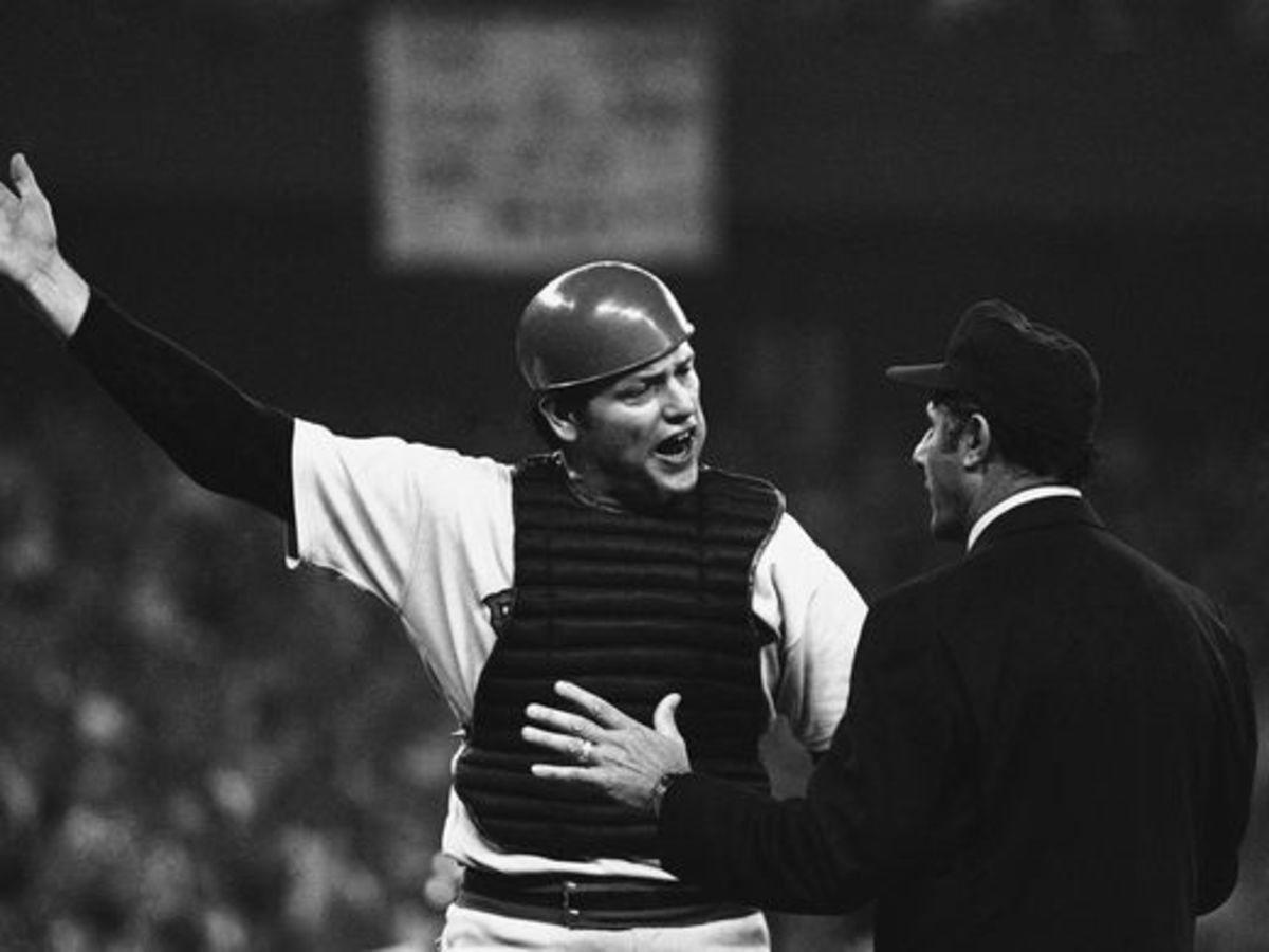 Fisk pleads his case unsuccessfully to the first base umpire, Dick Stello.