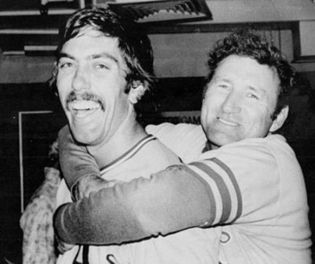 Ray Fosse and Manager Alvin Dark after the American League Championship Series