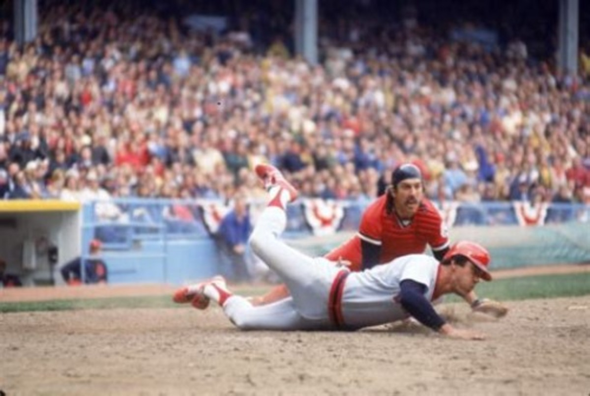 Ray Fosse tries to tag out Dwight Evans, opening day 1977 at Municipal Stadium.