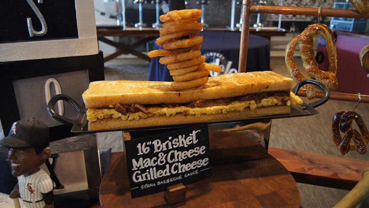 a gourmet brisket grilled cheese at a baseball concessions stand
