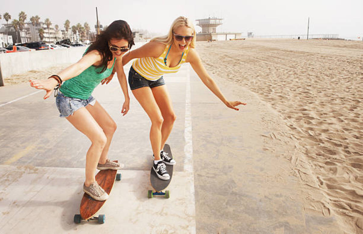 The feminine attraction to skateboarding is on the rise. it's a great way to exercise while having fun.