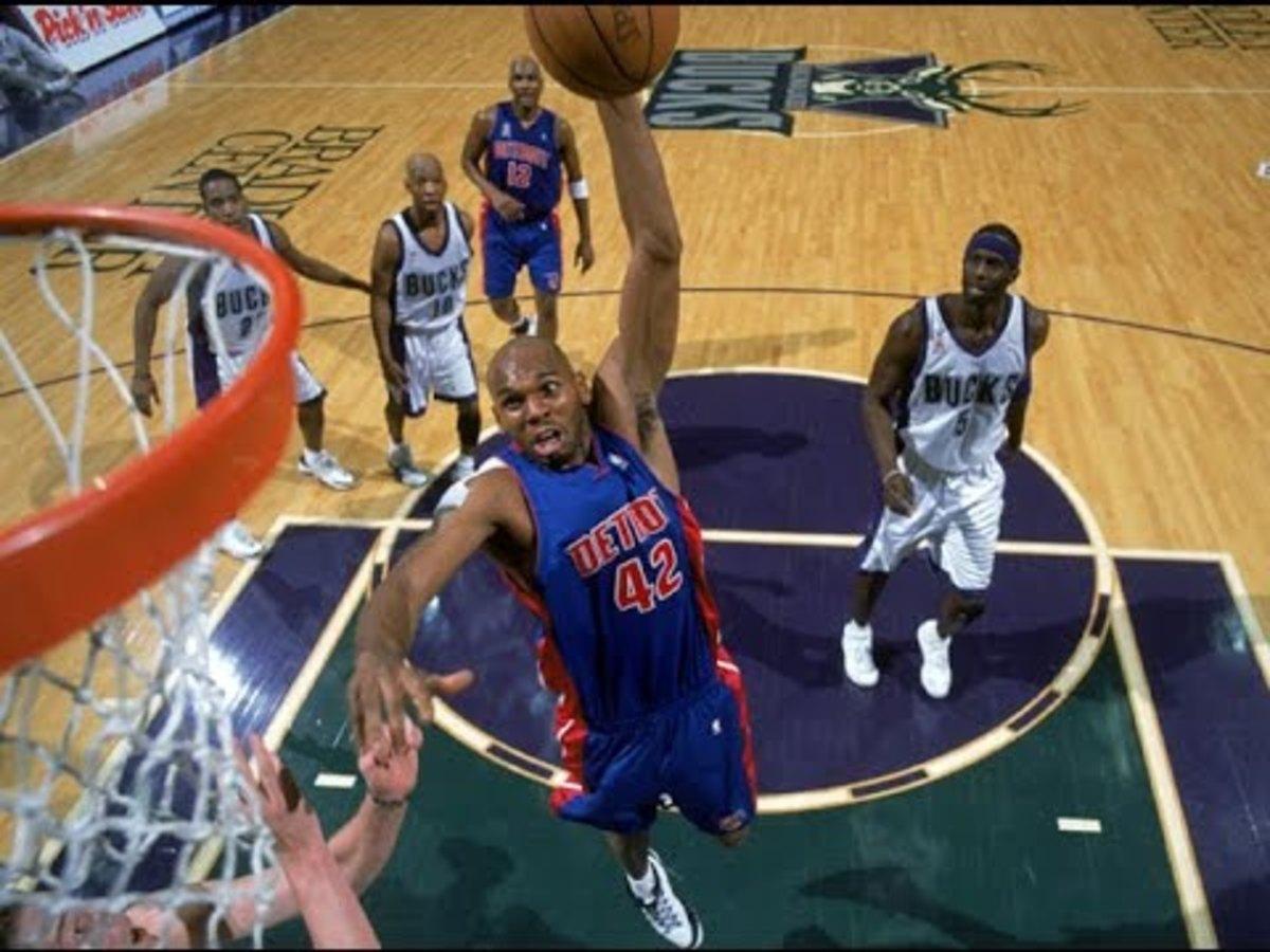 Jerry Stackhouse makes a ferocious dunk.
