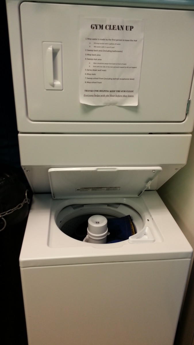 A washer and dryer are fantastic disinfectants for gis, towels, and other equipment.