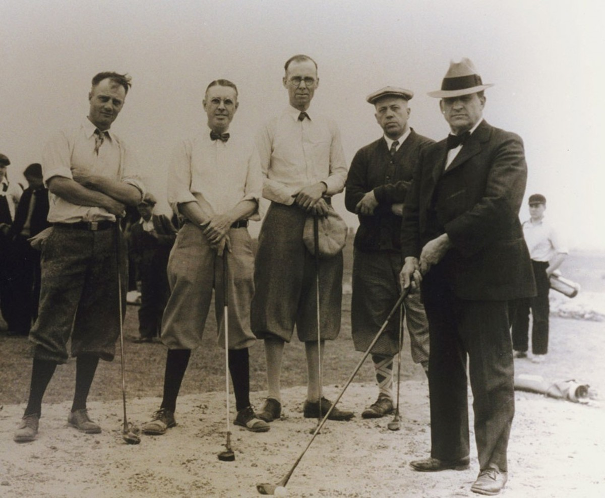 Players wear typical golfing attire during the 1930s—location unknown.