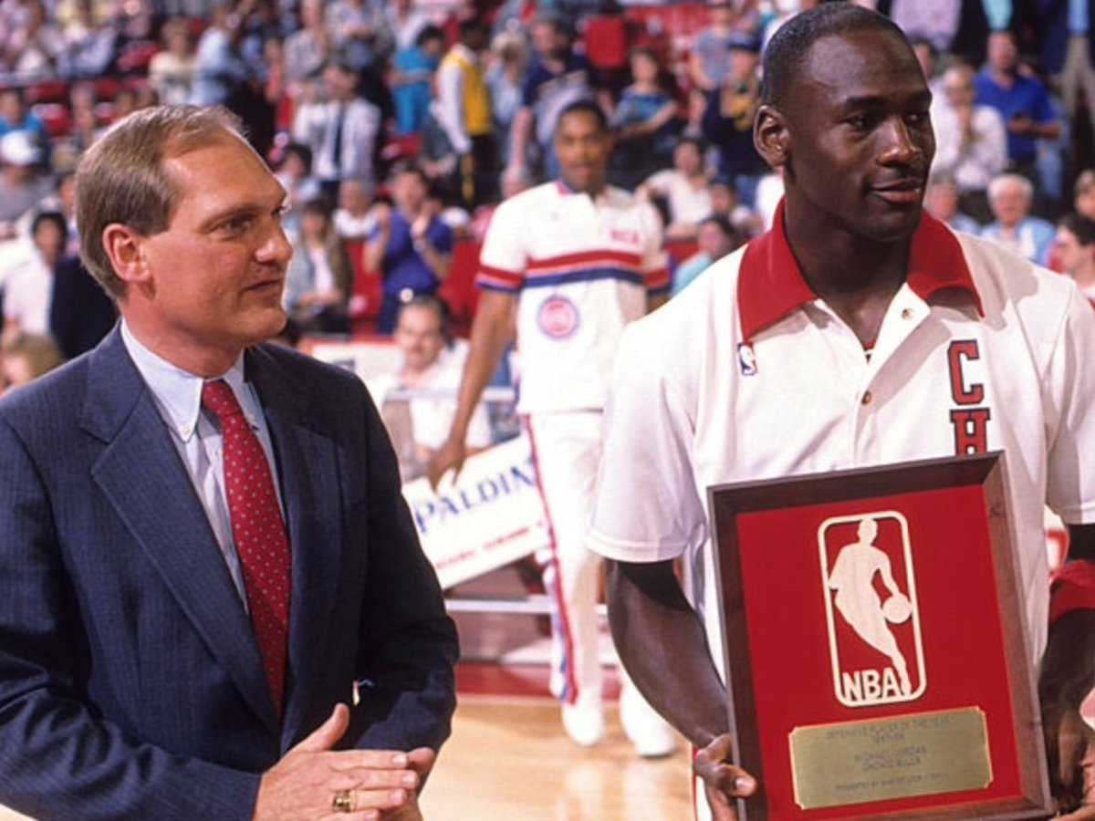 Michael Jordan receives the 1988 Defensive  Player of the Year award.