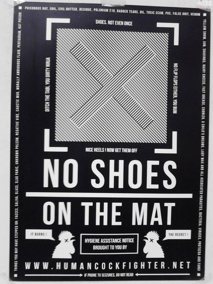 The golden rules of mat hygiene. No shoes on the mat!