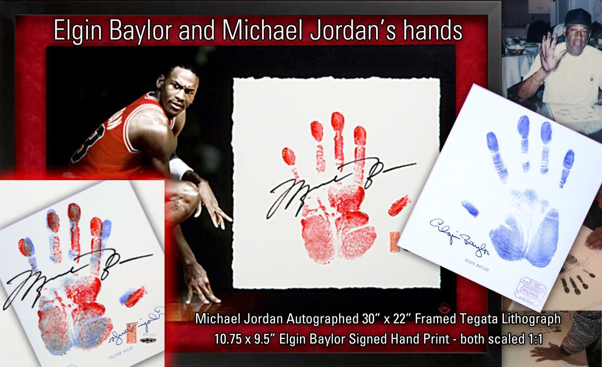 The hand print of Michael Jordan (in red) and Elgin Baylor (in blue).