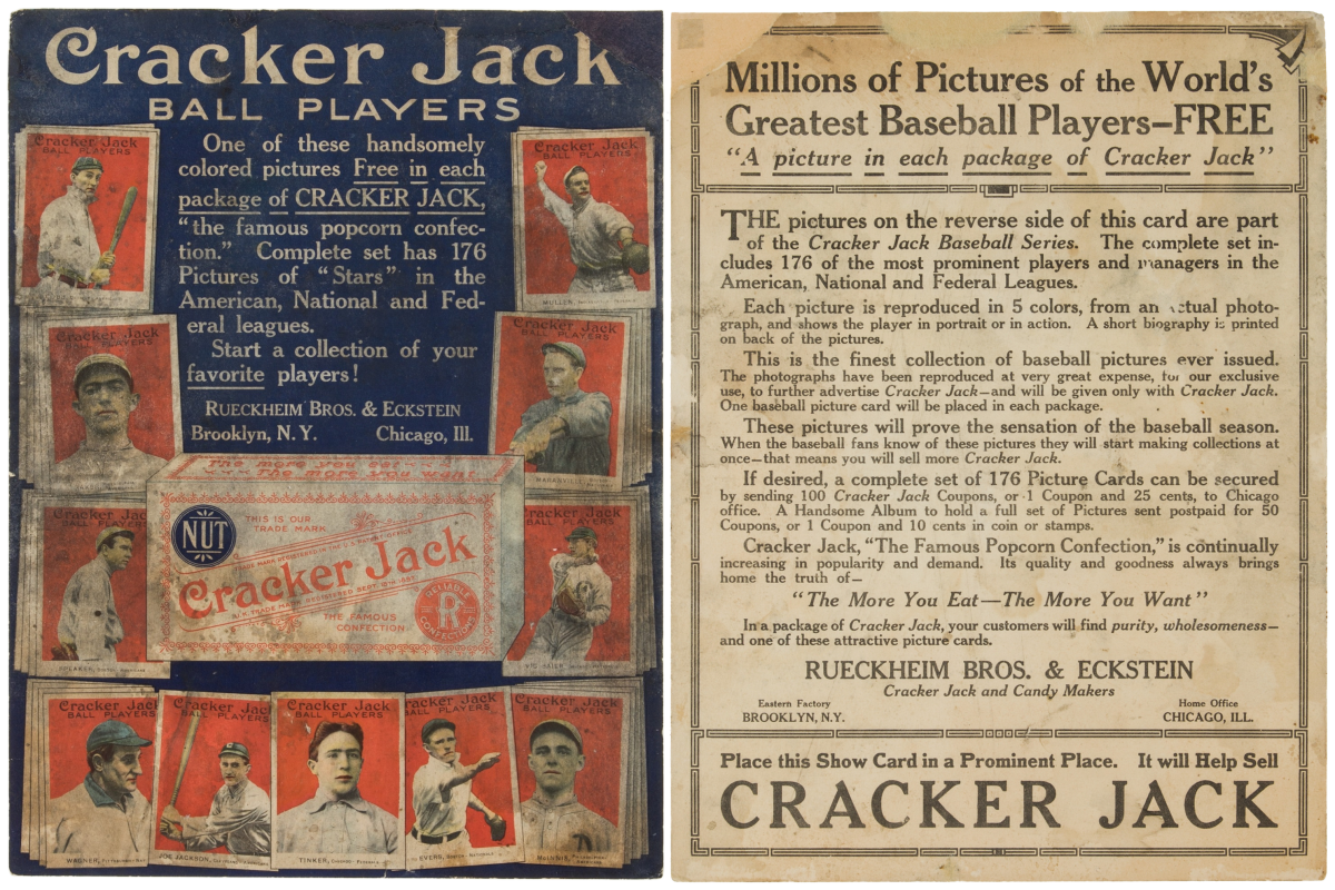Baseball cards of everyone's favorite players, were given out, in Cracker Jack boxes.