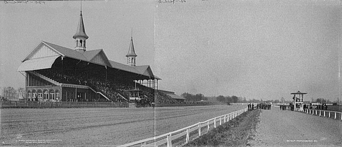 This composite photo shows how Churchill Downs looked in 1902