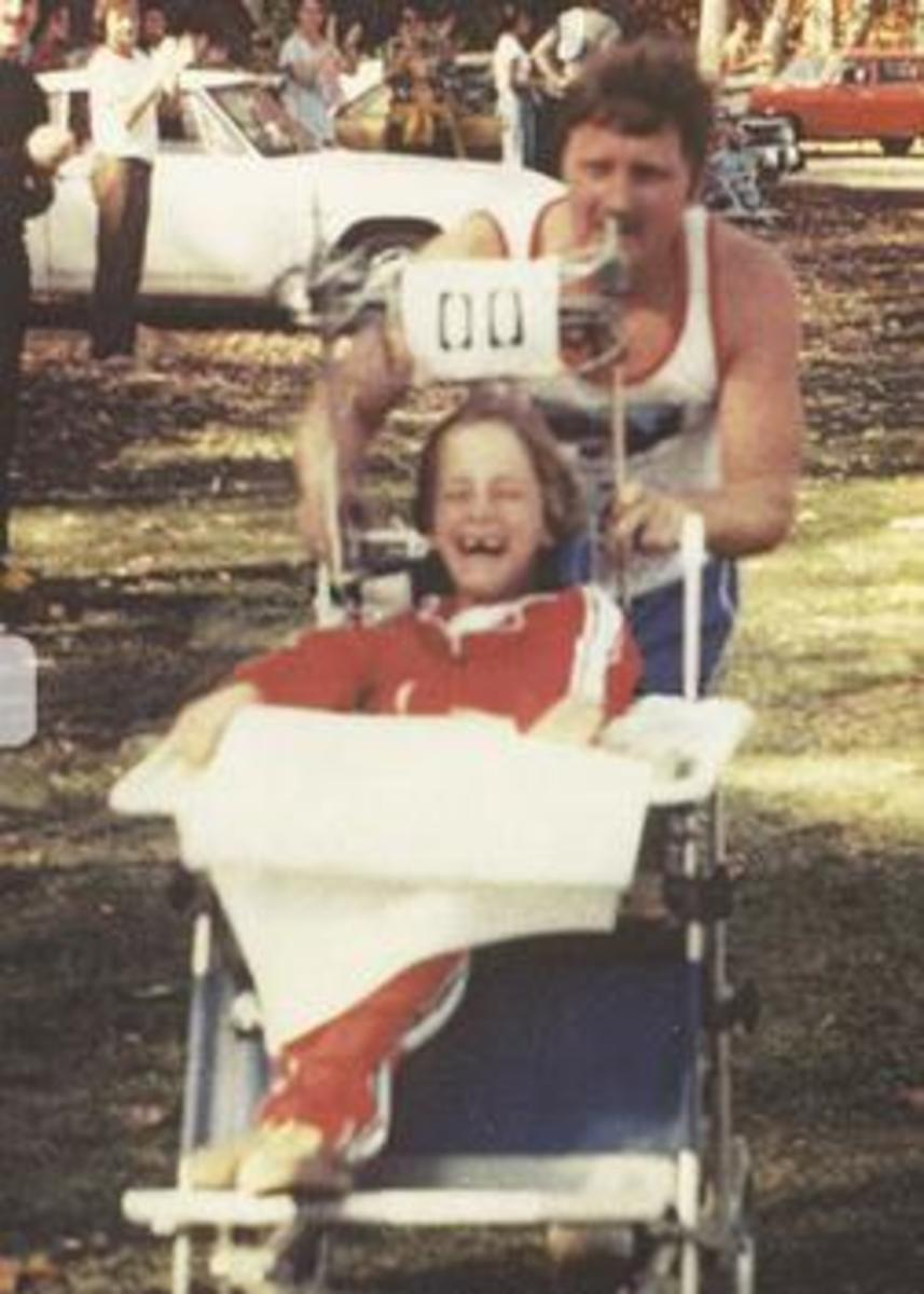 Dick and Rick Hoyt during an early race.
